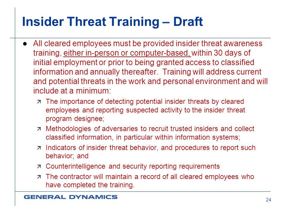 Insider Threat Training – Draft
