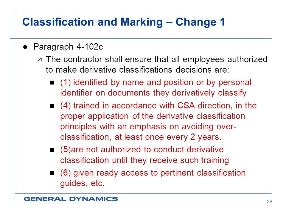 Classification and Marking – Change 1