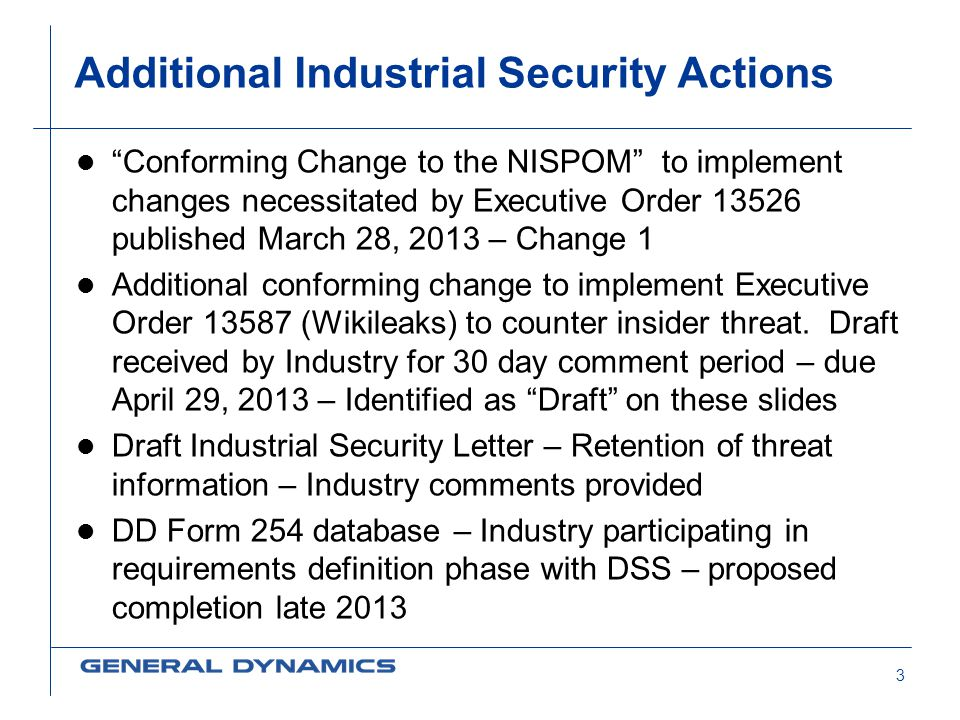 Additional Industrial Security Actions