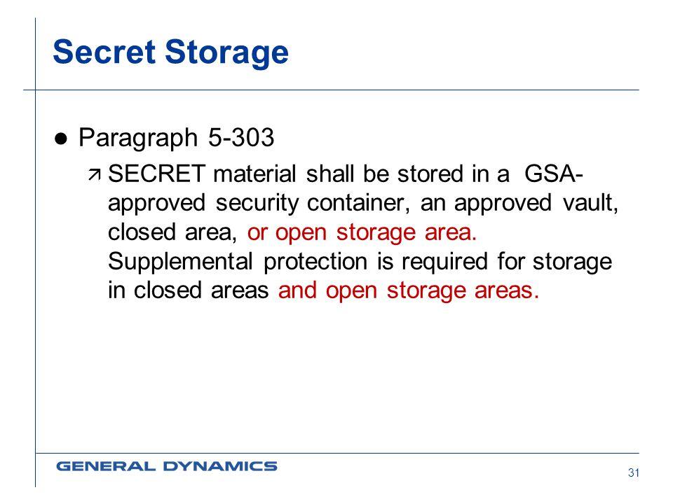 Secret Storage Paragraph 5-303
