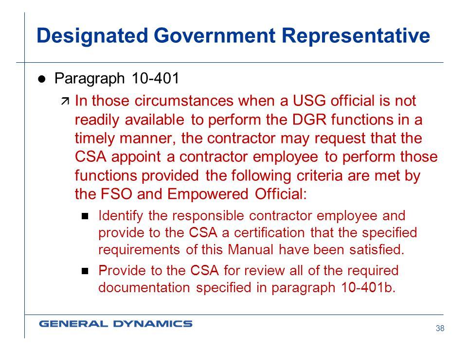 Designated Government Representative