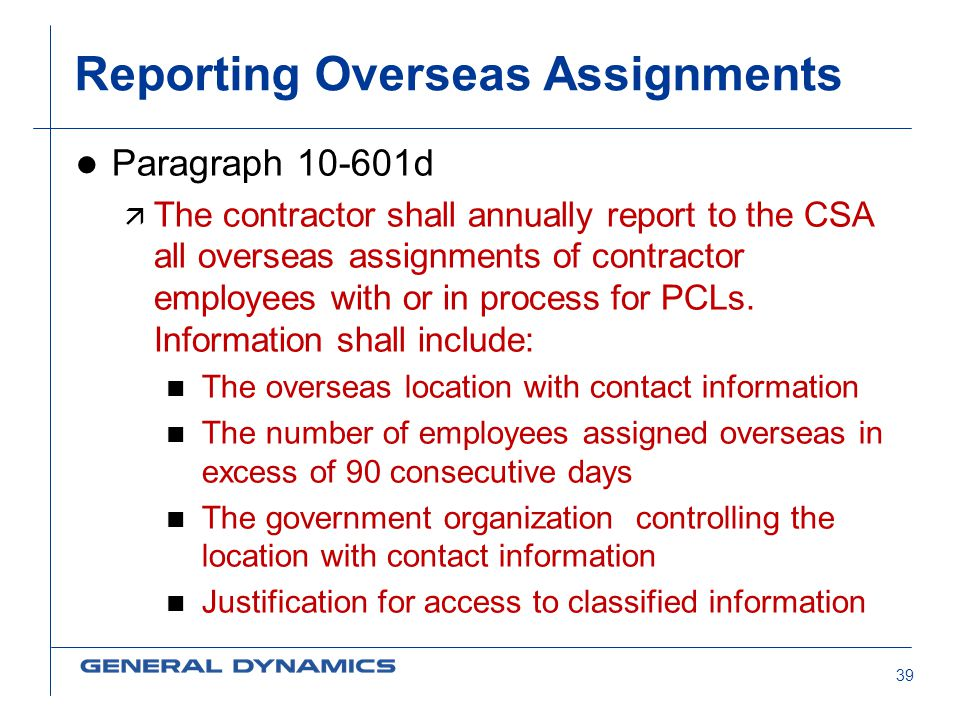 Reporting Overseas Assignments