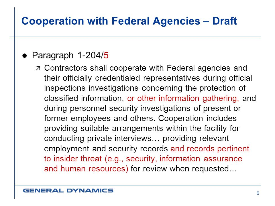 Cooperation with Federal Agencies – Draft