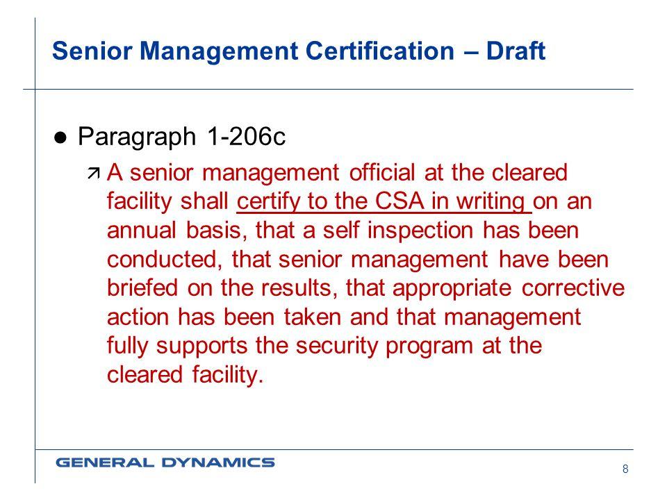 Senior Management Certification – Draft