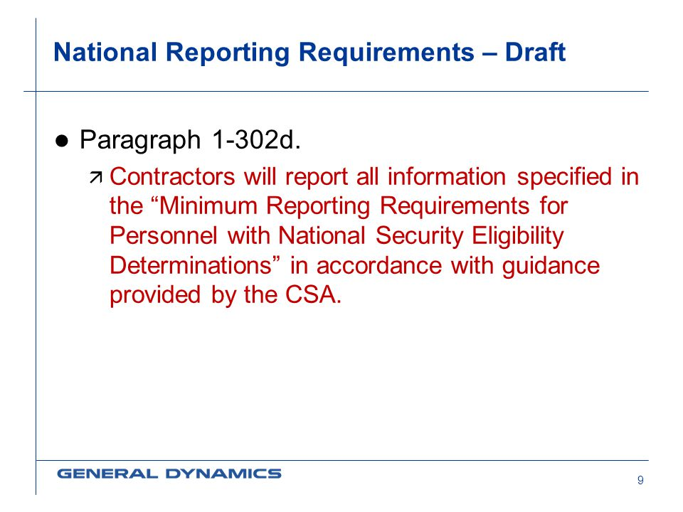 National Reporting Requirements – Draft