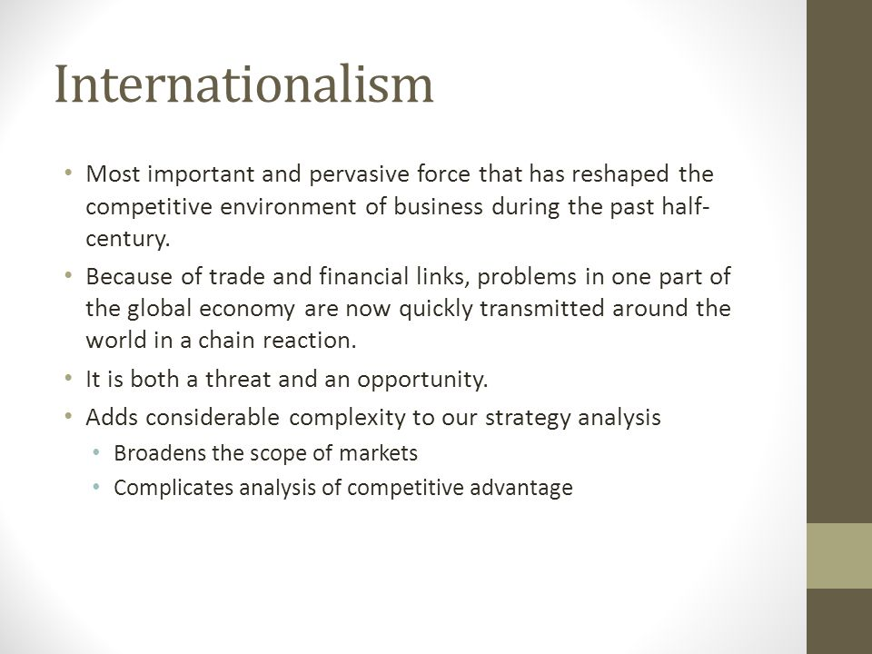 Internationalism Most important and pervasive force that has reshaped the competitive environment of business during the past half-century.