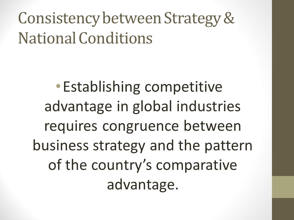 Consistency between Strategy & National Conditions