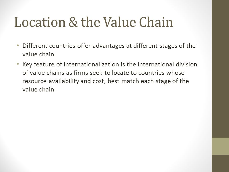 Location & the Value Chain