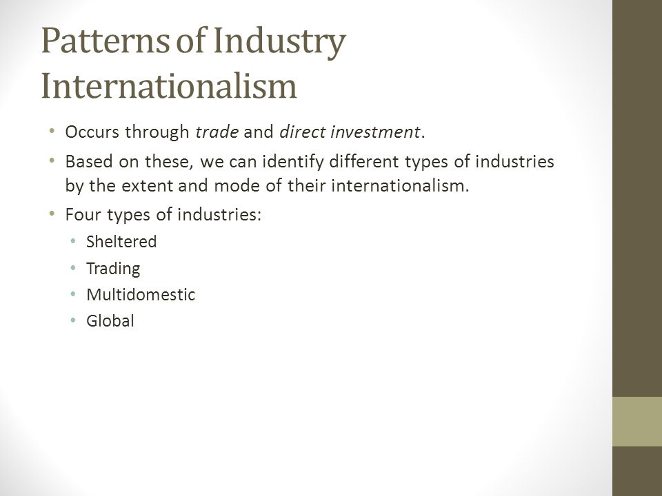 Patterns of Industry Internationalism