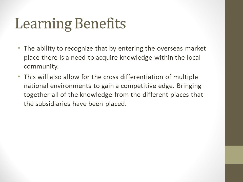Learning Benefits