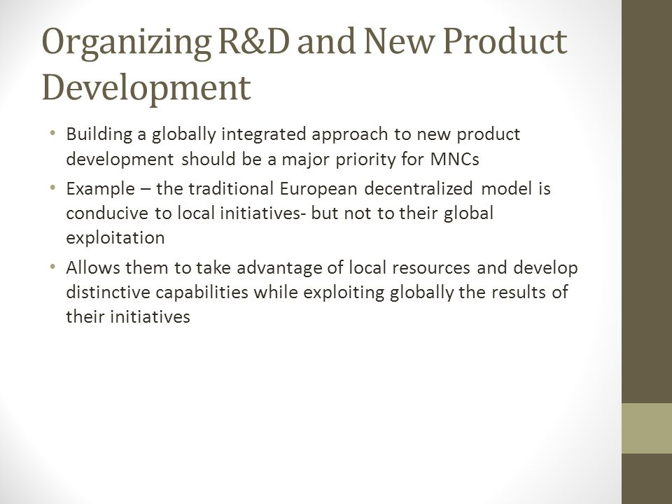 Organizing R&D and New Product Development