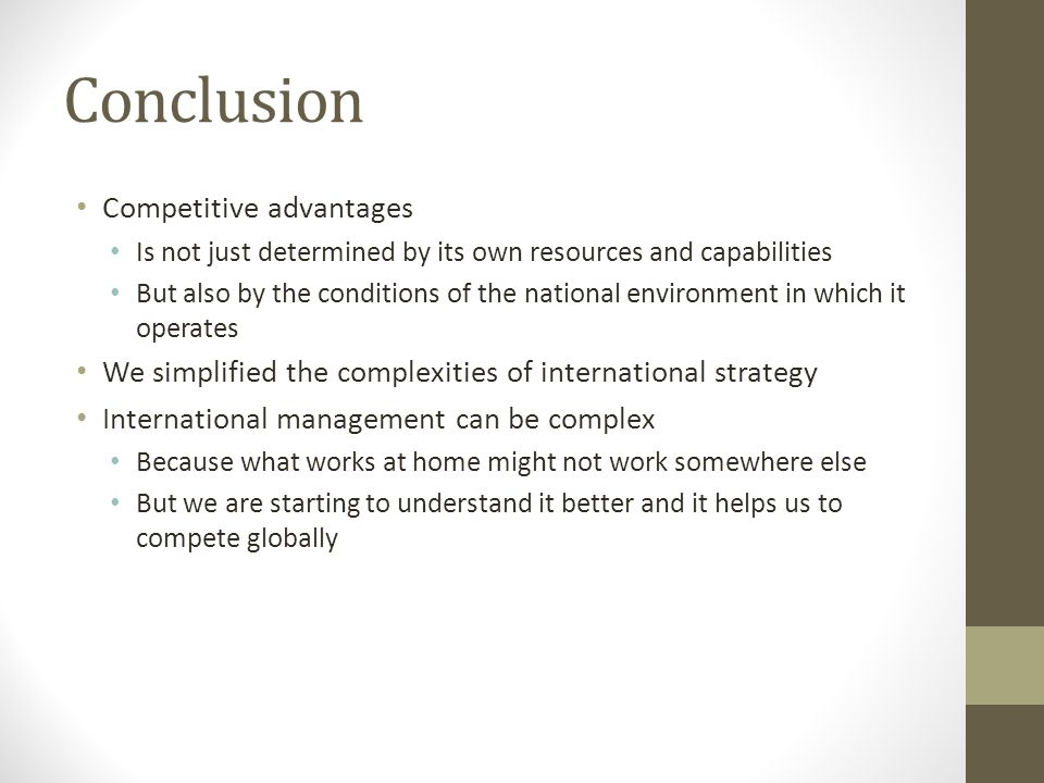 Conclusion Competitive advantages