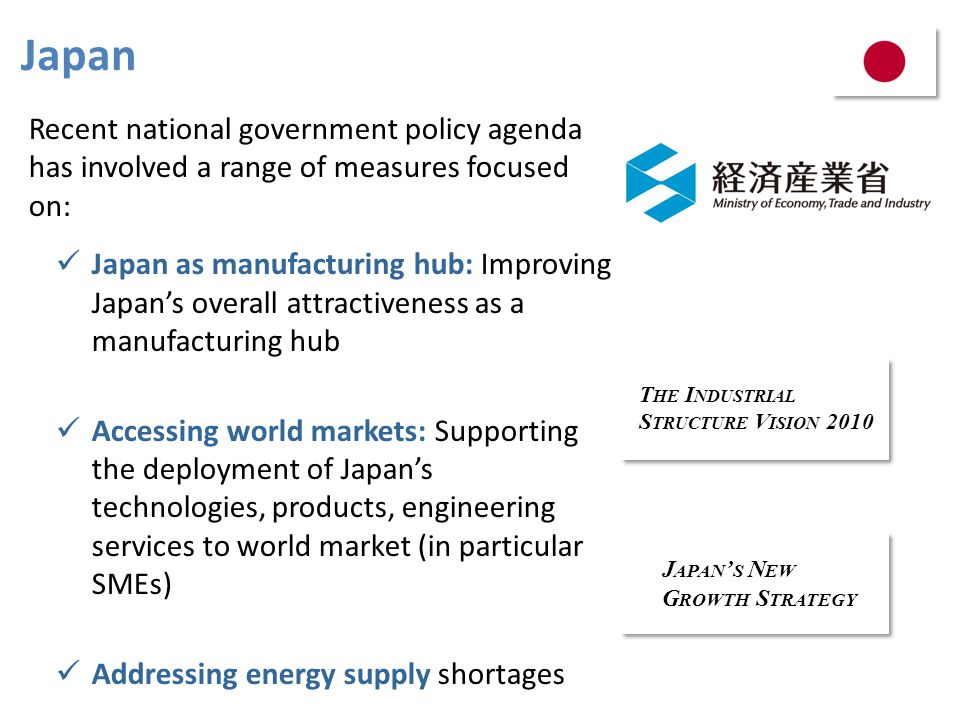 Japan Recent national government policy agenda has involved a range of measures focused on:
