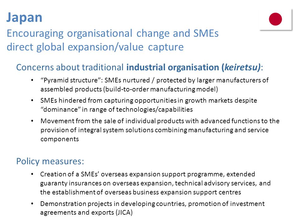 Japan Encouraging organisational change and SMEs