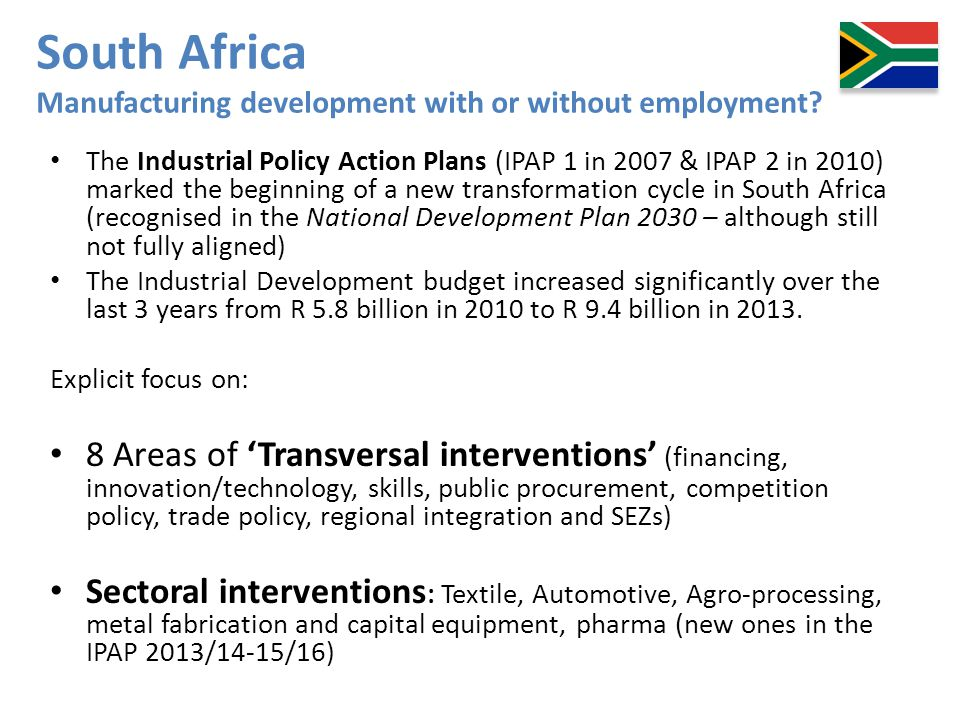South Africa Manufacturing development with or without employment