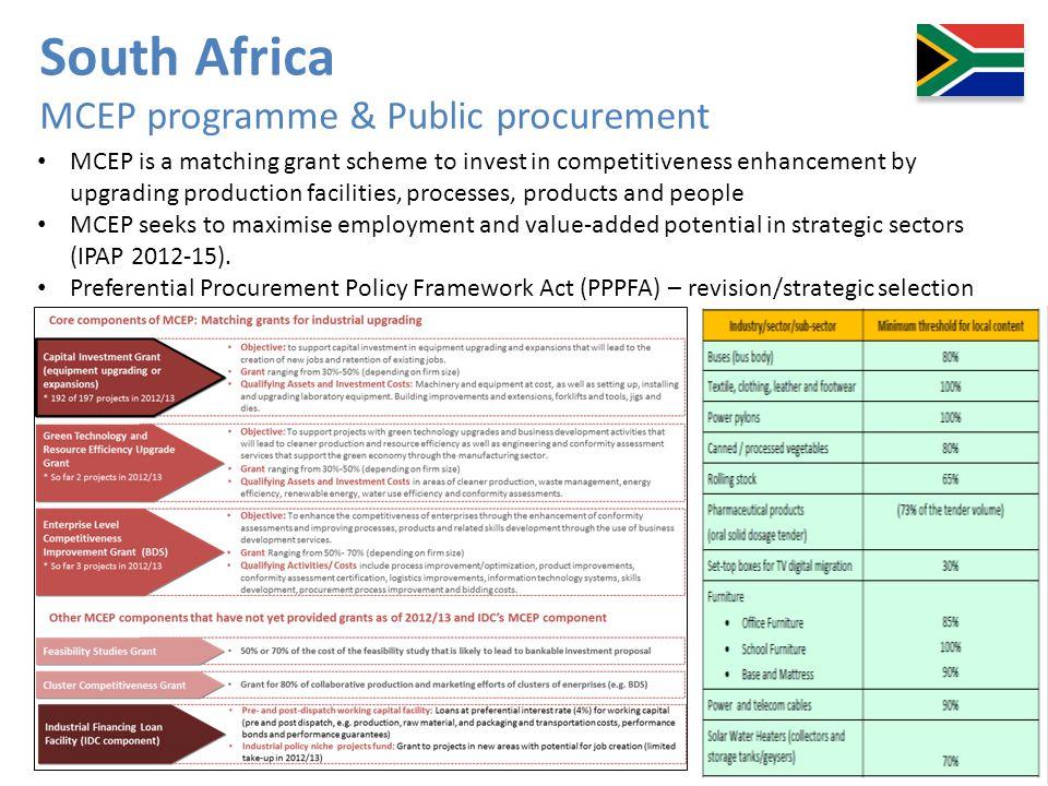 South Africa MCEP programme & Public procurement