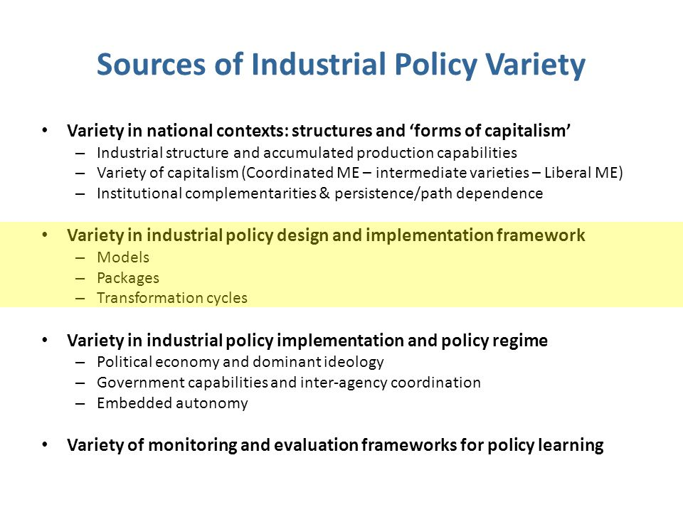Sources of Industrial Policy Variety