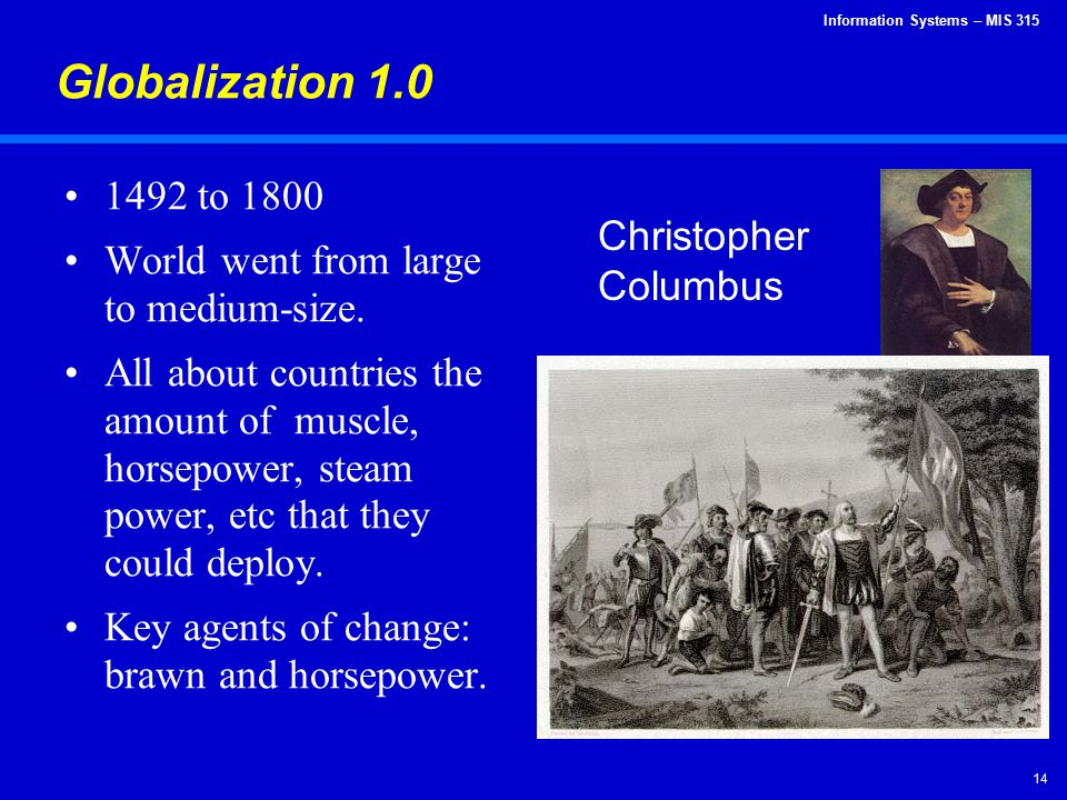 Globalization 1.0 1492 to 1800 World went from large to medium-size.