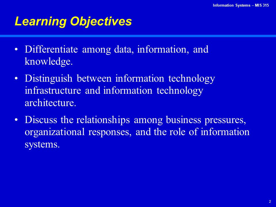 Learning Objectives Differentiate among data, information, and knowledge.