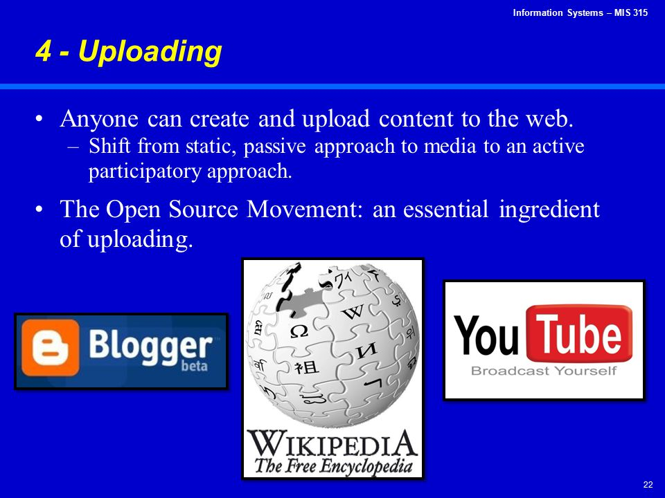 4 - Uploading Anyone can create and upload content to the web.
