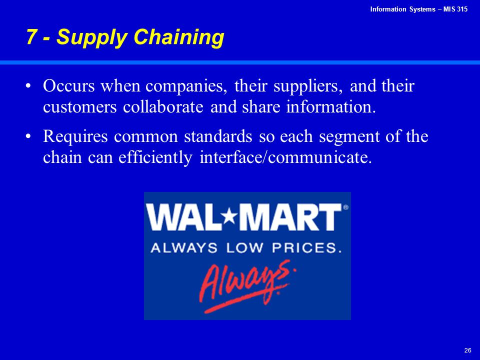 7 - Supply Chaining Occurs when companies, their suppliers, and their customers collaborate and share information.