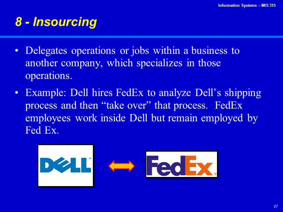8 - Insourcing Delegates operations or jobs within a business to another company, which specializes in those operations.