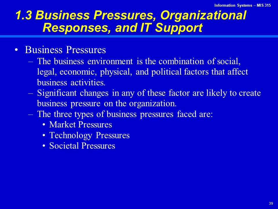1.3 Business Pressures, Organizational Responses, and IT Support