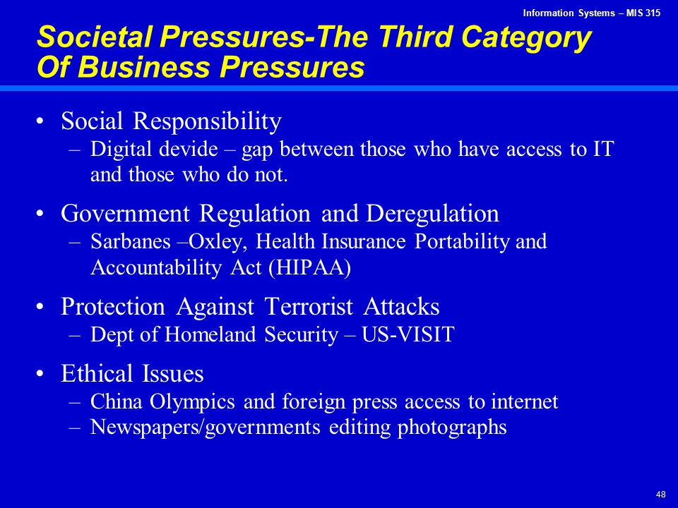 Societal Pressures-The Third Category Of Business Pressures