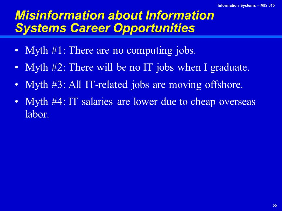 Misinformation about Information Systems Career Opportunities