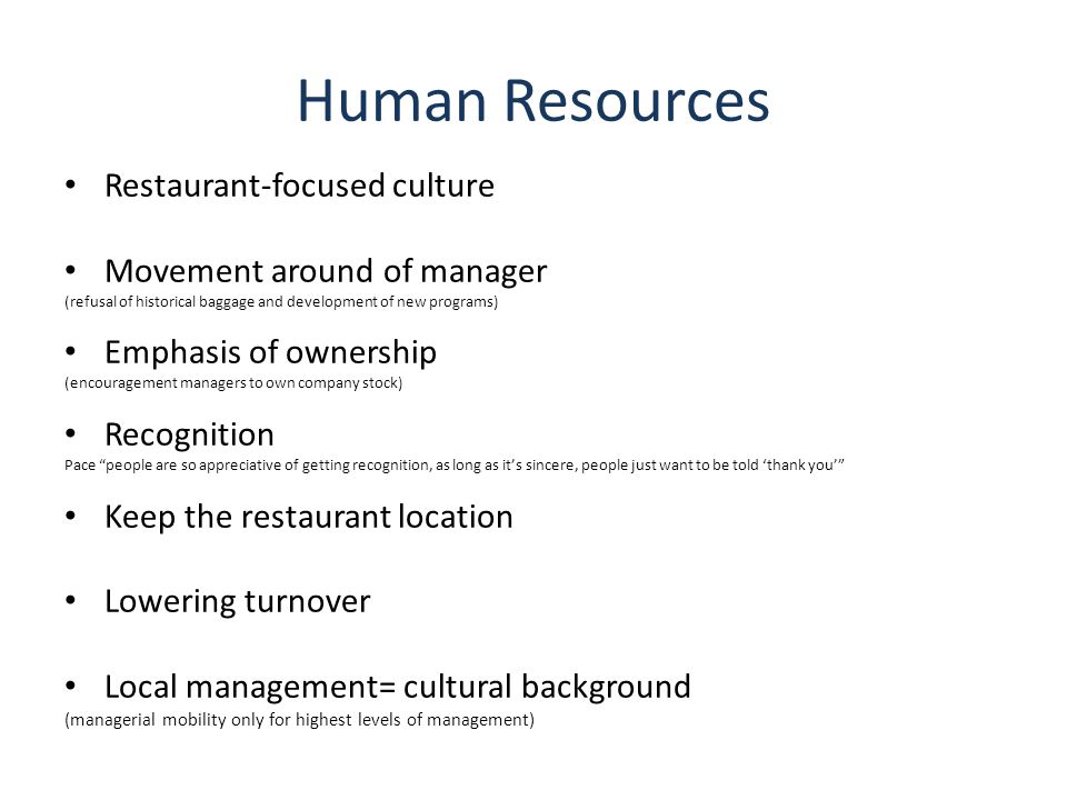 Human Resources Restaurant-focused culture Movement around of manager
