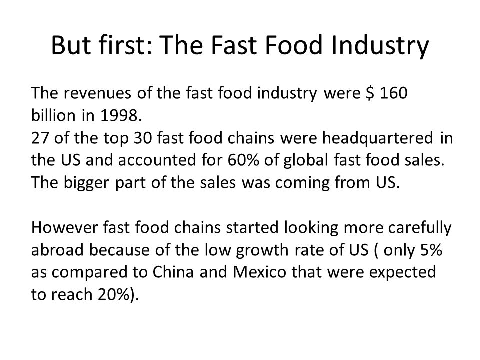 But first: The Fast Food Industry
