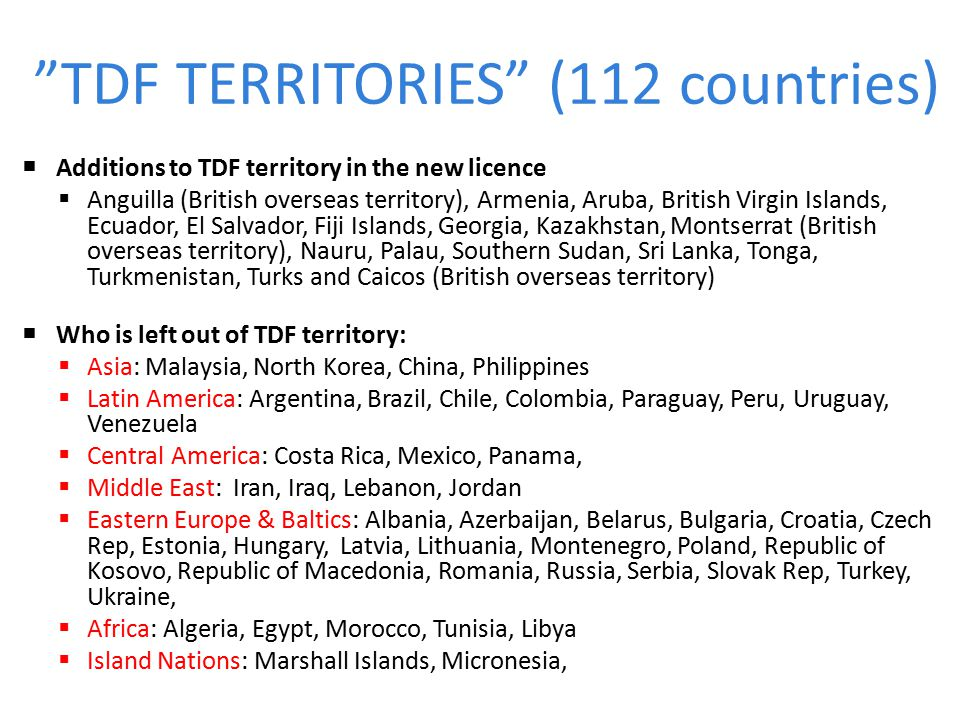 TDF TERRITORIES (112 countries)