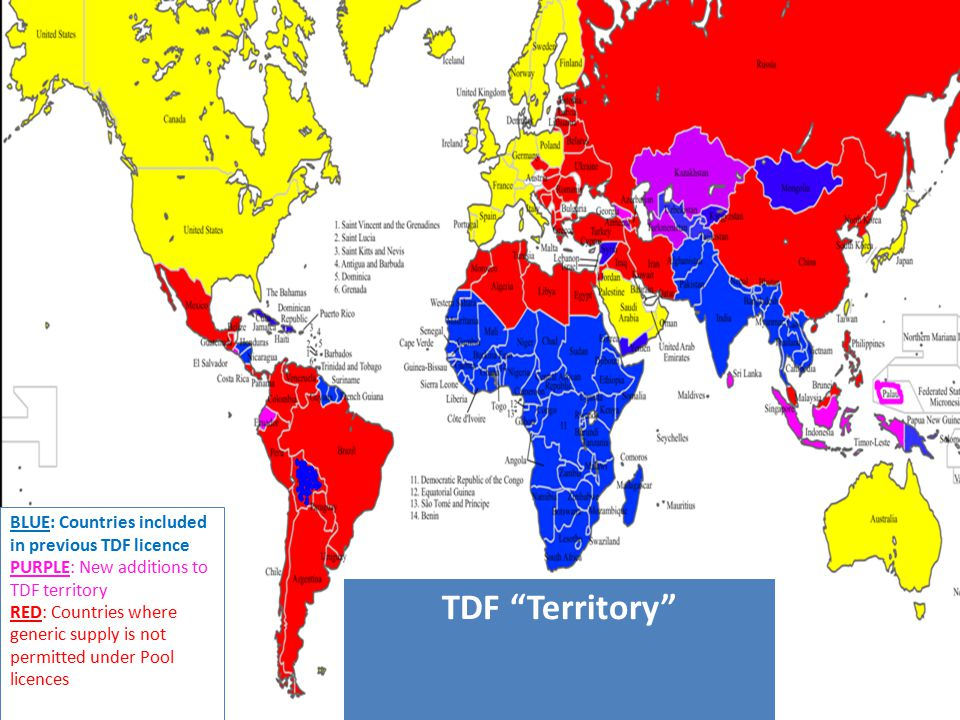 TDF Territory BLUE: Countries included in previous TDF licence