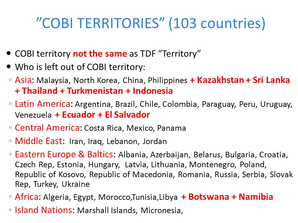 COBI TERRITORIES (103 countries)