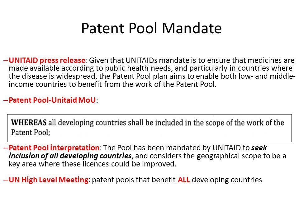 Patent Pool Mandate