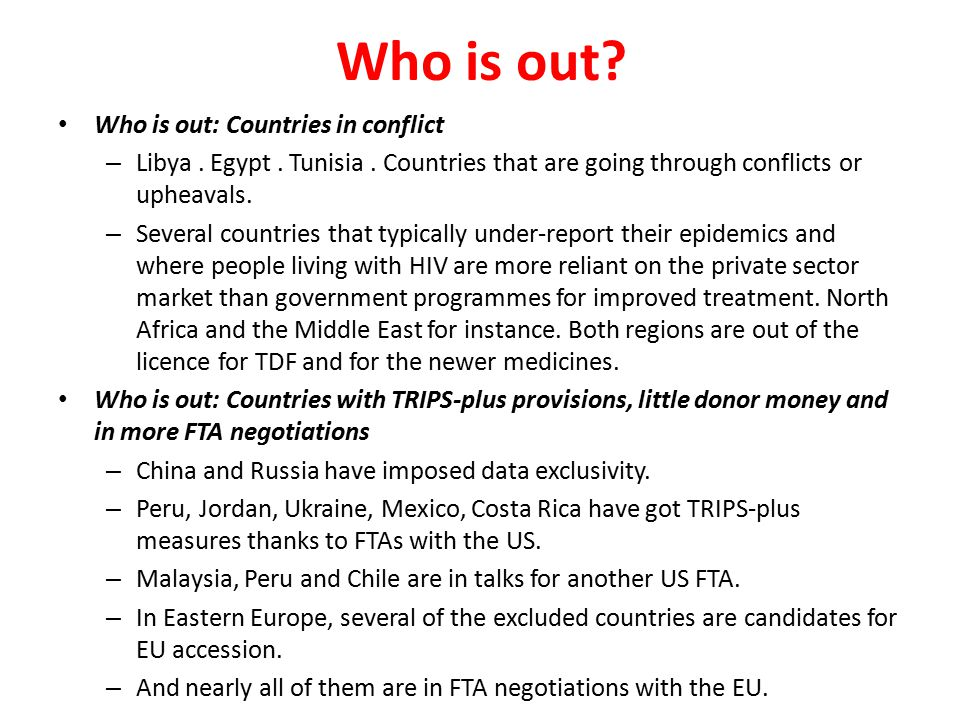 Who is out Who is out: Countries in conflict