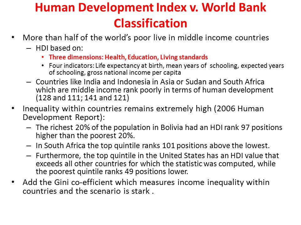 Human Development Index v. World Bank Classification