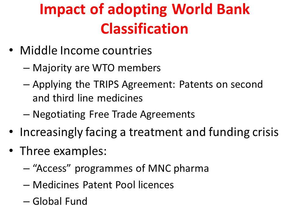 Impact of adopting World Bank Classification