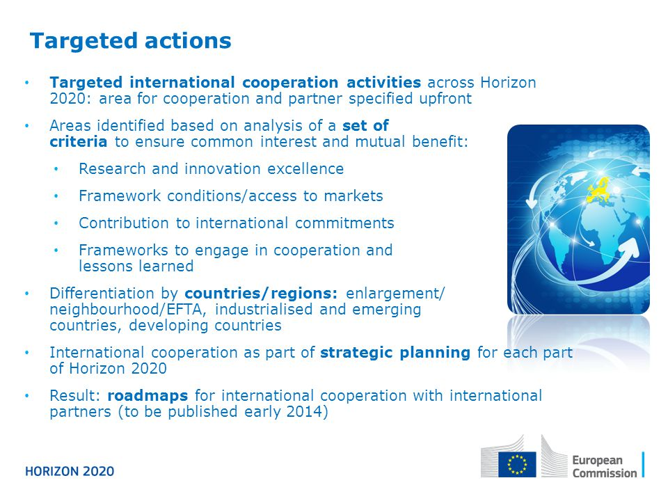 Targeted actions Targeted international cooperation activities across Horizon 2020: area for cooperation and partner specified upfront.