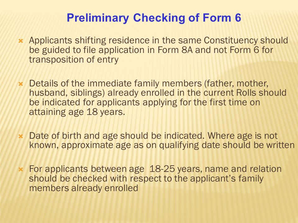 Preliminary Checking of Form 6