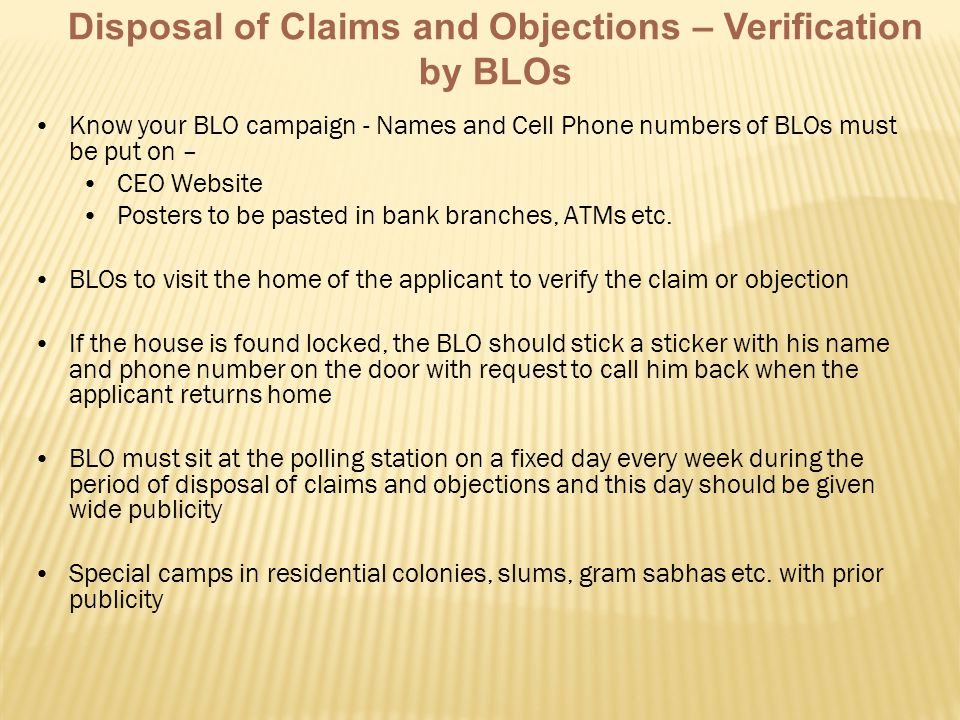 Disposal of Claims and Objections – Verification by BLOs