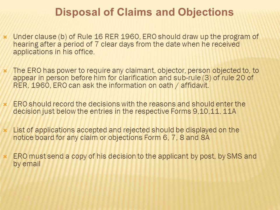 Disposal of Claims and Objections