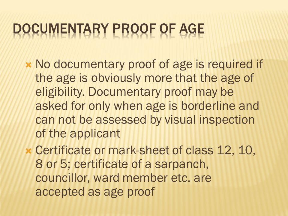 Documentary Proof of Age
