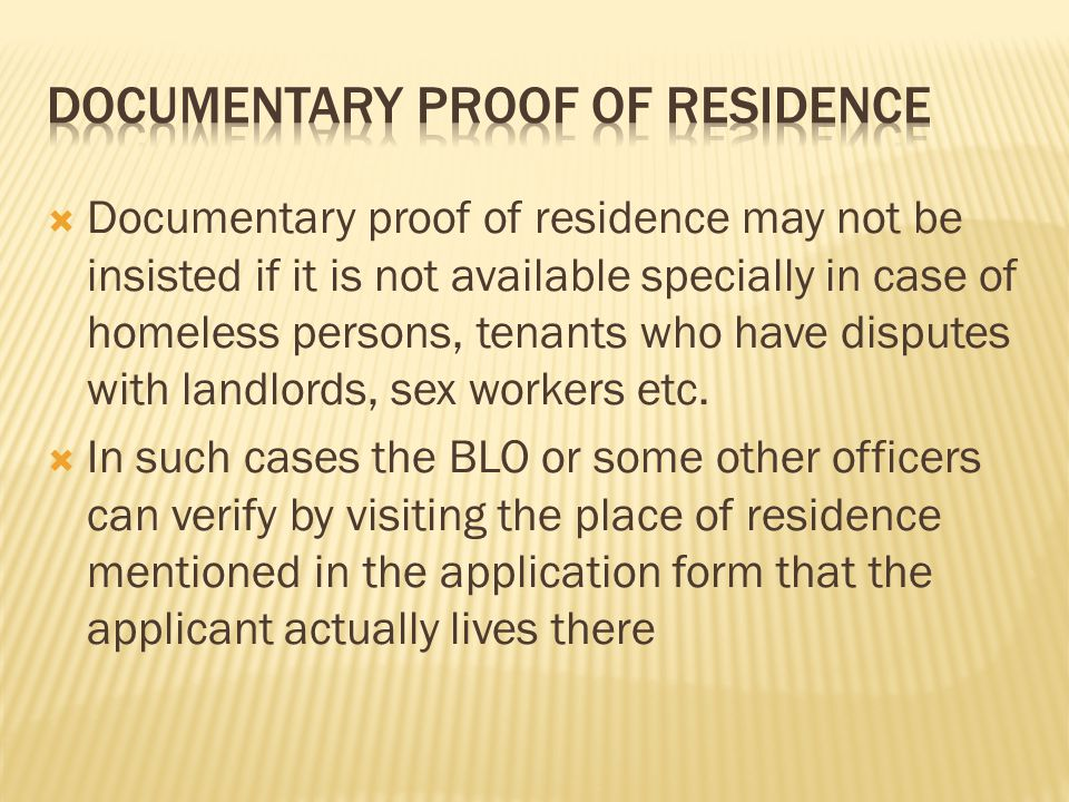 Documentary proof of residence