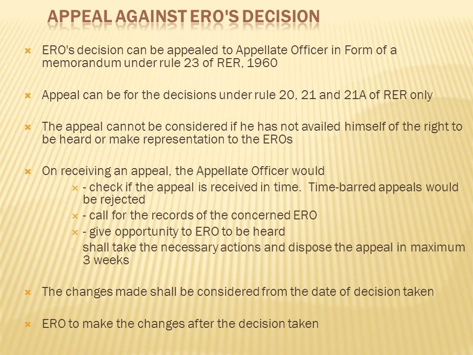 Appeal Against ERO s Decision