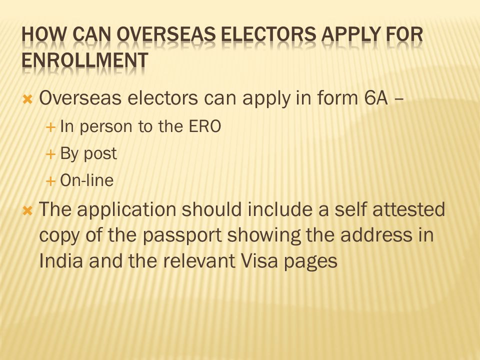 How can Overseas electors apply for enrollment