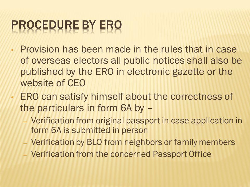 Procedure by ERO