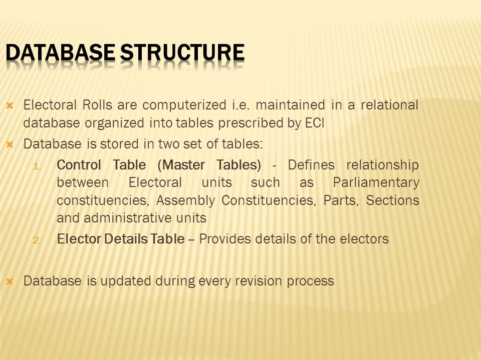 Database Structure Electoral Rolls are computerized i.e. maintained in a relational database organized into tables prescribed by ECI.