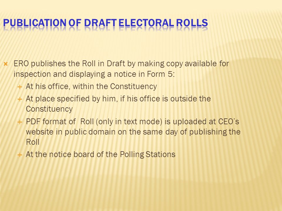 Publication of Draft Electoral Rolls
