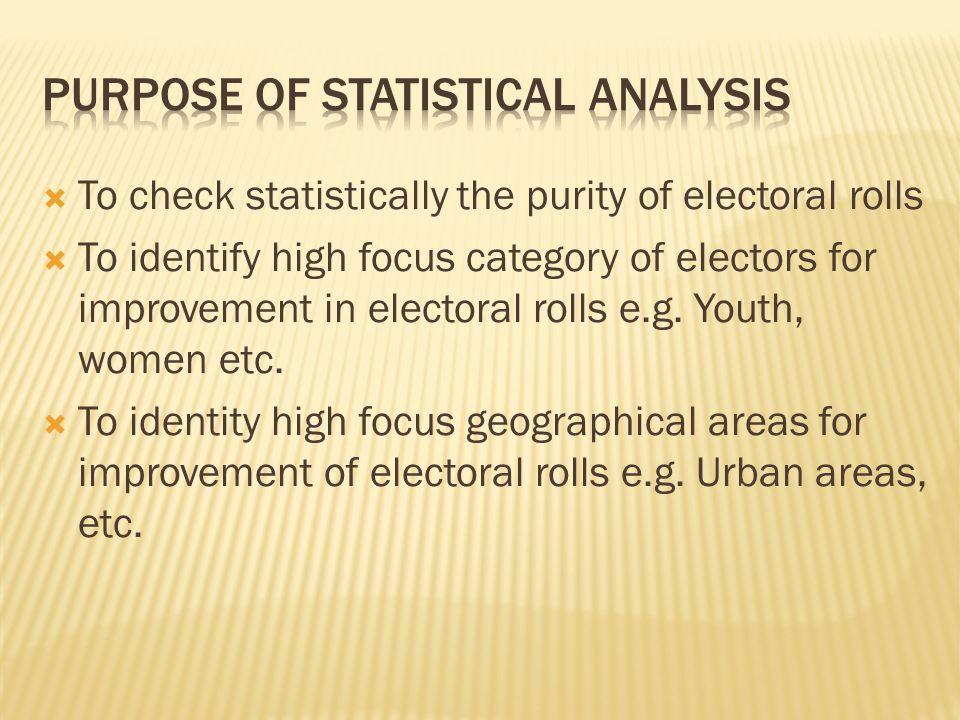 Purpose of Statistical Analysis